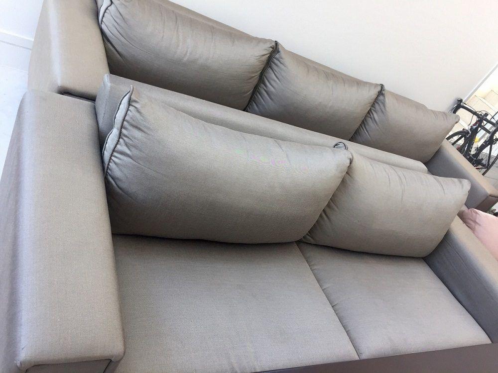 Sofá con tela de seda artificial